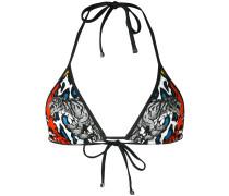multi-print triangle bikini top - women