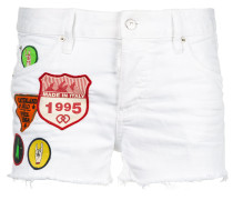 patch-work denim shorts