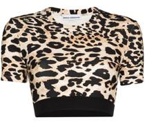 Cropped-Oberteil mit Leoparden-Print