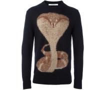 Intarsien-Pullover mit Kobra-Motiv