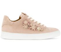 Wildleder-Sneakers mit Blumenapplikation