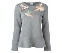 Sweatshirt mit aufgestickten Vögeln