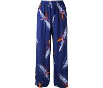 botanical print trousers - women - Seide - 38