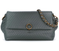 embossed flap shoulder bag