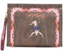 circus print clutch bag