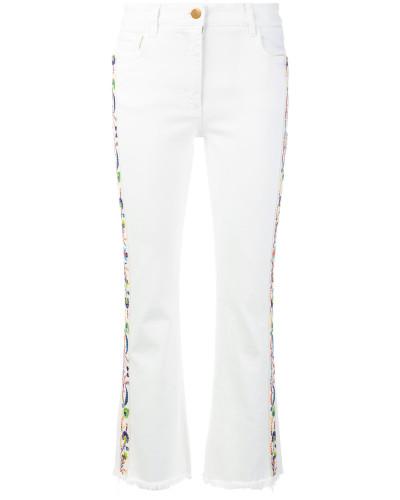 Cropped-Jeans mit Stickerei