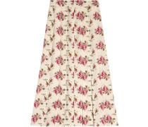 Rose print silk skirt