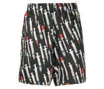 Shorts mit Spritzen-Print