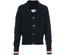 SHAWL COLLAR CARDIGAN WITH ARAN CABLE IN FINE MERINO WOOL AND RED, WHITE AND BLUE CUFF STRIPE