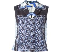 Ärmellose Bluse mit Schal-Print