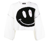 Cropped-Pullover mit Smiley