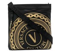 logo-embossed zipped bag