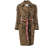 leopard print double breasted coat