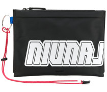 logo printed clutch bag