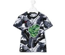 T-Shirt mit Blätter-Print - kids - Baumwolle