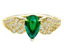 18kt Gelbgoldring mit Smaragden und Diamanten