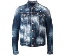 Distressed-Jeansjacke mit Farbklecksen