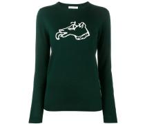 Intarsien-Pullover mit Hunde-Motiv - women