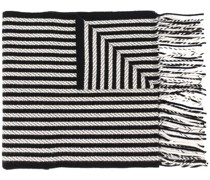 fringed woven stripe scarf