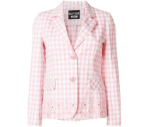 floral embroidered check blazer