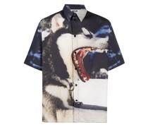 wolf print short-sleeve shirt
