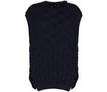 open-knit oversized vest