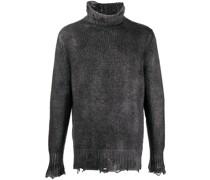 distressed ribbed knit jumper