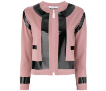 patent effect contrast cardigan