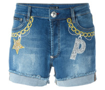 Jeans-Shorts mit Stickereien