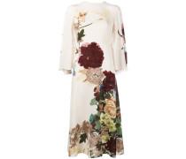 Cape-Kleid mit Blumen-Print
