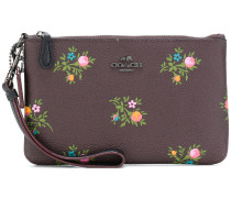 small wristlet with cross stitch floral print