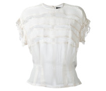 open panel ruffle blouse