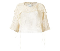 Cropped-Pullover in Netzoptik