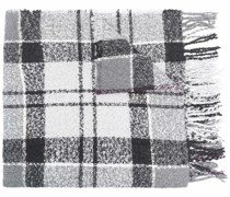 bouclé tartan knitted scarf