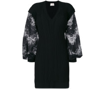 contrast sleeve knitted dress
