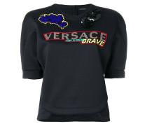embroidered short sleeve sweatshirt