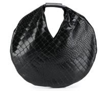 circular crocodile-effect tote bag