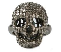 'Skull' Ring mit Diamanten