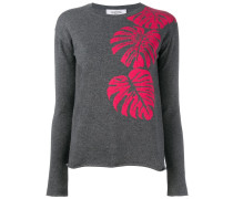 palm leaf intarsia jumper
