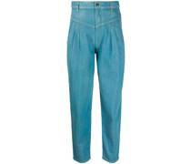 Tapered-Jeans mit Falten