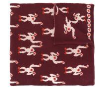 Merino-Schal mit Affen-Motiven