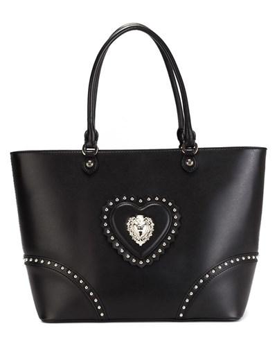 moschino damen handtasche mit nieten und herz patch reduziert. Black Bedroom Furniture Sets. Home Design Ideas