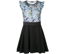 Kleid mit Spitzeneinsatz und Vogel-Print