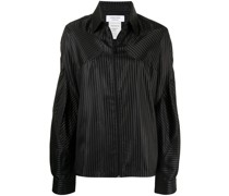 panelled striped overshirt