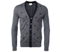 bee and star embroidered cardigan