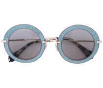 appliquéd round frame sunglasses - women
