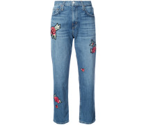 Boyfriend-Jeans mit Patches