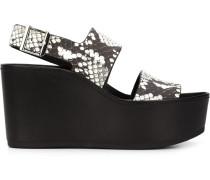 Wedge-Sandalen mit Schlangenleder-Optik
