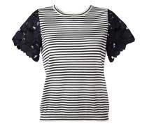 Gestreiftes T-Shirt mit Spitzenärmeln - women