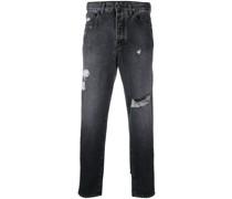 Tapered Jeans in Distressed-Optik